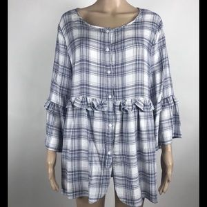 Max Studio Blue Plaid Half Button Tunic